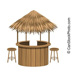 Beach Bar Thatch. Vintage Lounge Cafe Isolated -...