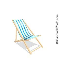 Wooden Beach Chaise Longue Isolated on White Background -...