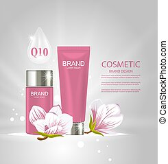 Design Poster for Cosmetics Product Advertising with Magnolia Flowers