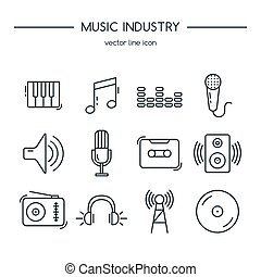 ???????? RGB - Music industry icons line set. Vector...