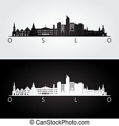 Oslo skyline and landmarks silhouette, black and white...