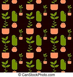 Green House Plant In Pot Seamless Pattern