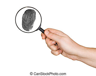 Magnifying glass in hand and fingerprint isolated on white...