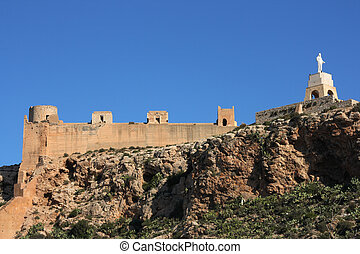 Almeria castle - Alcazaba - fortified Moorish castle on a...