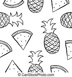 Doodle of fruit collection stock