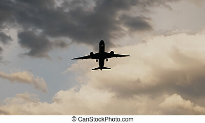 vacker,  passenger, av, mycket, tagande, mot, skyn, solnedgång, bakgrund,  airplane