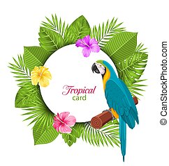 Tropical Card with Parrot Ara, Colorful Hibiscus Flowers