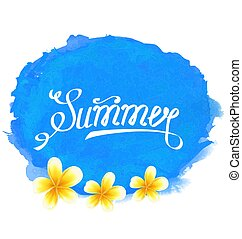 Typographic Text, Summer Label with Frangipani Flowers