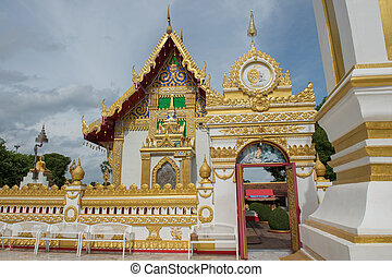 Phra That Phanom Pagoda in Temple Laotian Style of Chedi,...