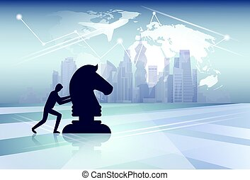 Silhouette Business Man Pushing Cess Figure New Idea Strategy Concept Over World Map Background