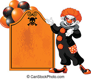 Scary Halloween Clown inviting - Illustration of Scary...