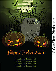 Halloween Illustration with Tombstone and Pumpkins for...