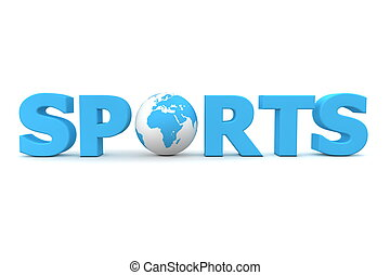 Sports World Blue - blue word Sports with 3D globe replacing...