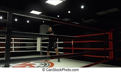 Shadow Boxing in the ring. The average plan