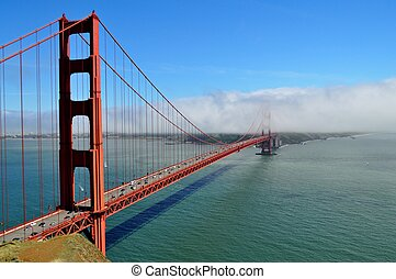 Golden Gate Bridge - View of Golden Gate Bridge with fog...