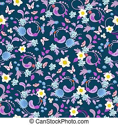 graceful seamless texture with spring flowers for your design