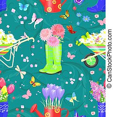 graceful seamless texture with bouquets of fresh flowers in gard