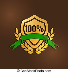 gold quality mark with Green ribbon