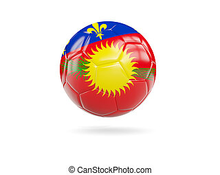 Football with flag of guadeloupe isolated on white. 3D...