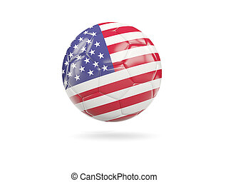 Football with flag of united states of america isolated on...