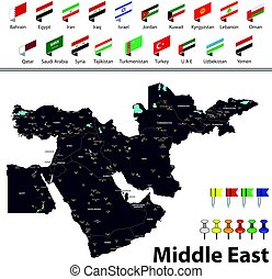 Map of Middle East - Vector map of Middle East with...