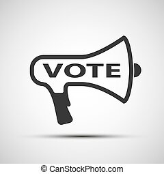 icon megaphone with the word vote