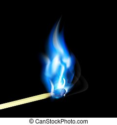 Burning match with blue flame