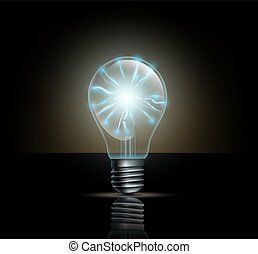light bulb with lightning inside on a dark background