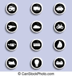 set of icons of transport