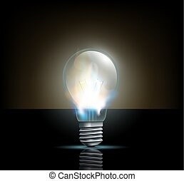 glowing filament lamp on a dark background