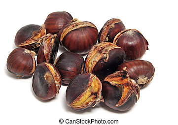 roasted chestnuts - some roasted chestnuts isolated oin a...
