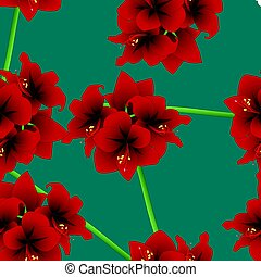 Red Amaryllis on Teal Indigo Background. Christmas Day. Vector Illustration