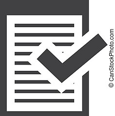 Note with checkmark icon in black on a white background. Vector illustration