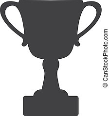 Trophy cup icon in black on a white background. Vector...