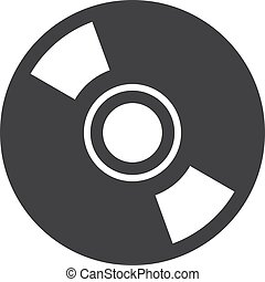 Disc icon in black on a white background. Vector illustration