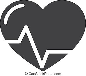 Heart beat icon in black on a white background. Vector...