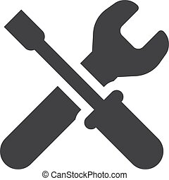 Wrench icon in black on a white background. Vector...