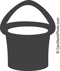 Bucket icon in black on a white background. Vector illustration