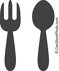 Fork and spoon icon in black on a white background. Vector illustration