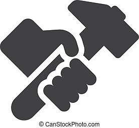 Hand with hummer icon in black on a white background. Vector...