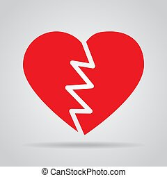 Red broken heart icon with shadow on a gray background