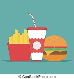 French fries, humburger and soda. Fast food in a flat design