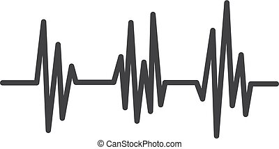 Heartbeat icon in black on a white background. Vector illustration