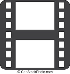Film strip icon in black on a white background. Vector illustration