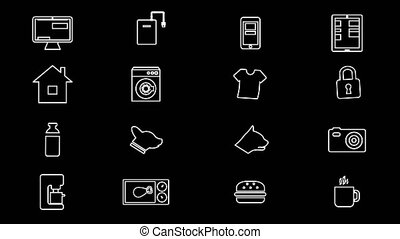 Internet Of Things and Smart Home Icons. 4K With Alpha Channel