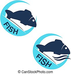 Vector fish silhouette with wave water. Circular seafood...