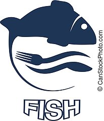Vector fish silhouette with waves, fork and knief. Circular...