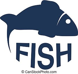 Vector fish silhouette. Circular seafood symbols isolated on...