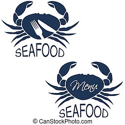 Vector crab silhouette with symbol of menu and symbol of...