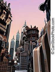 3D Rendering Futuristic City - 3D rendering of a science...